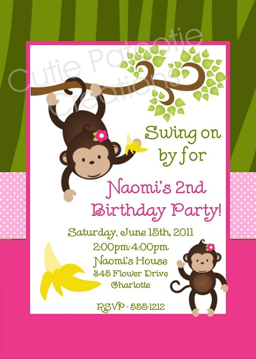 Mod Monkey Birthday Invitations | Animal Invitations - Printable or Printed