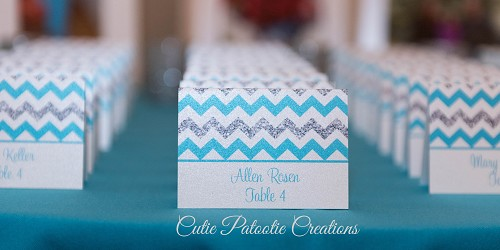 Aqua Blue and Silver Chevron Place Cards for Mitzvahs, Weddings and Sweet 16 | Custom Colors Available