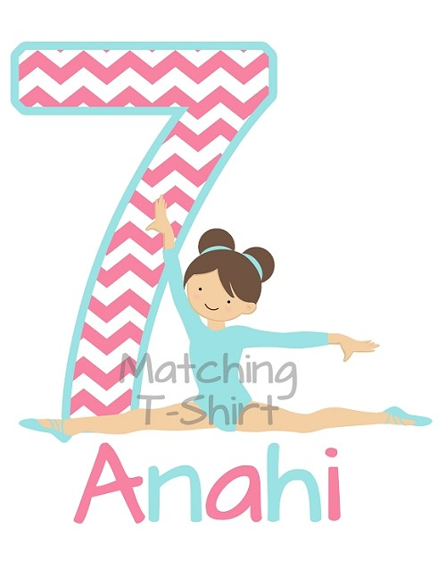 Personalized Gymnastics Birthday Party T-Shirt - Pink and Aqua Blue Chevron