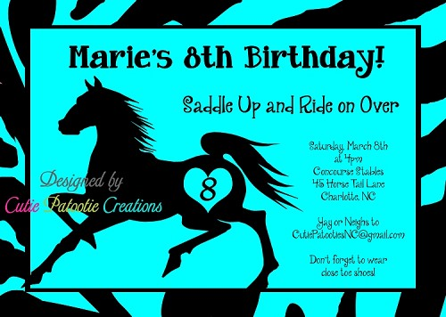 Teal Black Stallion Birthday Party Invitations