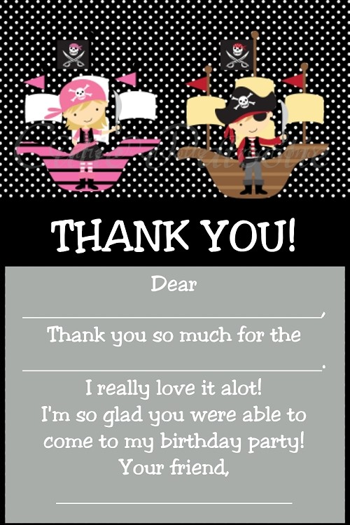 Twins Siblings Pirate Thank You Card
