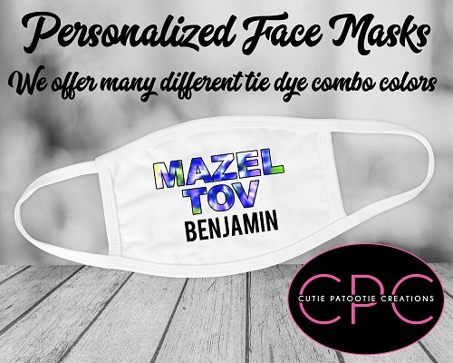 Personalized Mazel Tov Face Masks for Bar and Bat Mitzvah - Purple & Lime