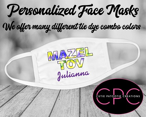 Personalized Mazel Tov Tie Dye Face Mask - Yellow and Purple