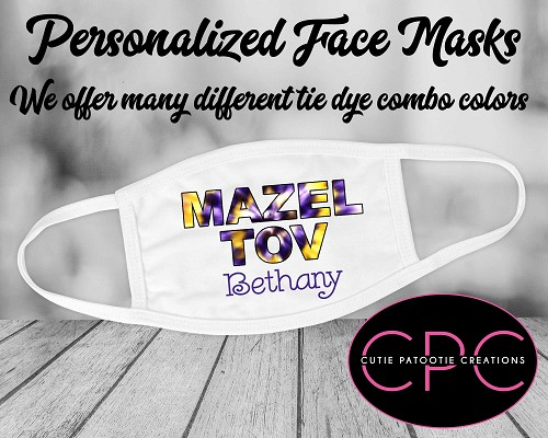 Personalized Tie Dye Mazel Tov Face Mask - Purple and Yellow