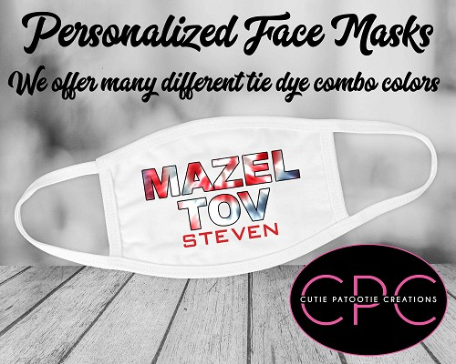 Personalized Tie Dye Face Mask - Red, White, Blue and Grey
