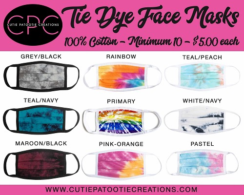 Tie Dye Face Masks for Mitzvahs, Weddings, Sweet 16 - MINIMUM 10