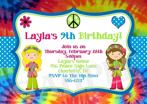 Tie Dye Birthday Party Invitations - Printable or Printed