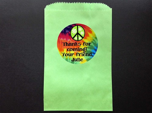 Tie Dye Peace Sign Party Favor Bags and Personalized Stickers