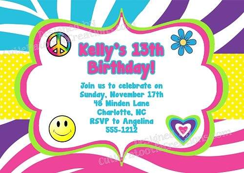 Tie Dye Peace Love Rainbow Hippie Chick Birthday Invitations - Printable or Printed