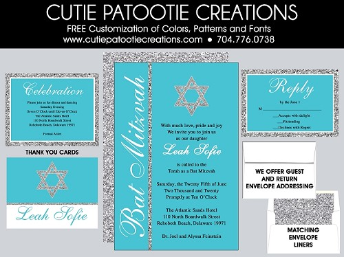 Aqua Teal Blue and Silver Glitter PATTERN Bat Mitzvah Invitations - Custom Colors Available