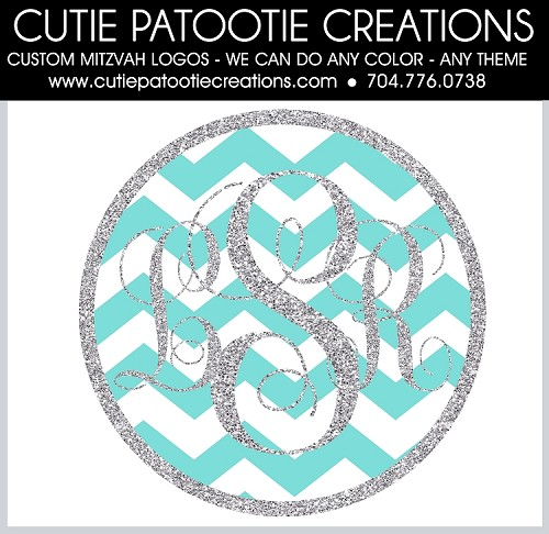 TIFFANY BLUE CHEVRON with Silver Glitter BAT MITZVAH LOGO - Custom Colors Available