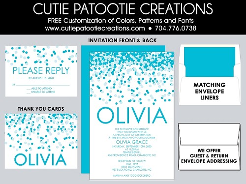 Tiffany Blue Confetti Bat Mitzvah Invitation - Custom Colors Available