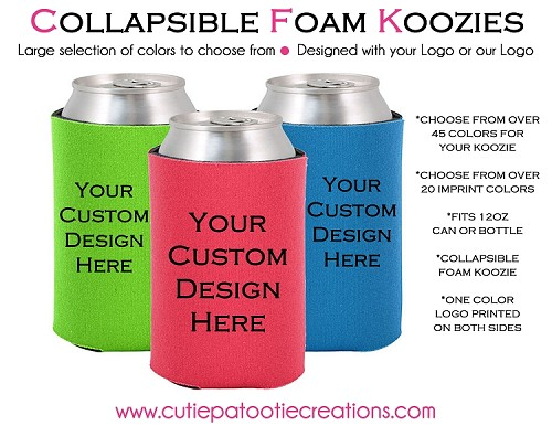 Personalized COLLAPSIBLE KOOZIES with Logo - MINIMUM 100