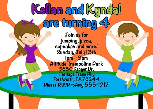 Trampoline JUMP Birthday Party Invitations