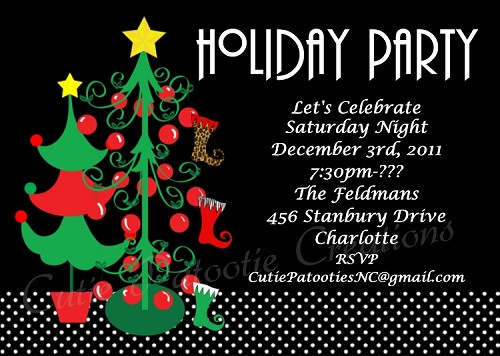Christmas Tree Holiday Party Invitation - Printable or Printed