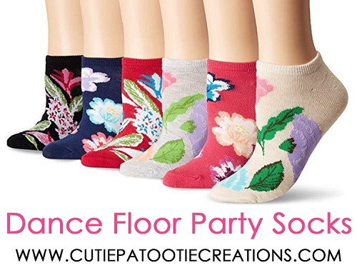 Dance Floor Party Socks - Tropical Flowers Beach Theme