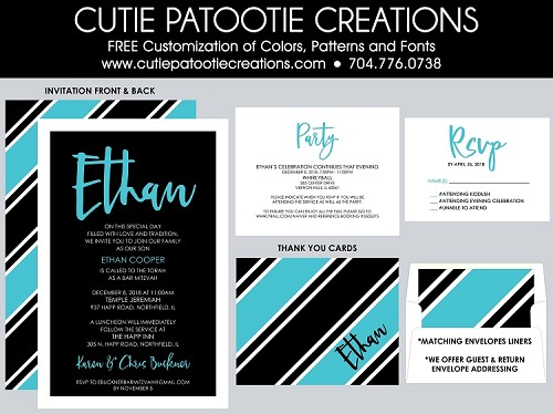 Turquoise, Black and White Bar Mitzvah Invitations with Stripes - Custom Colors Available