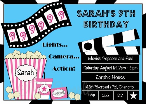 Movie Birthday Invitations - Printable or Printed