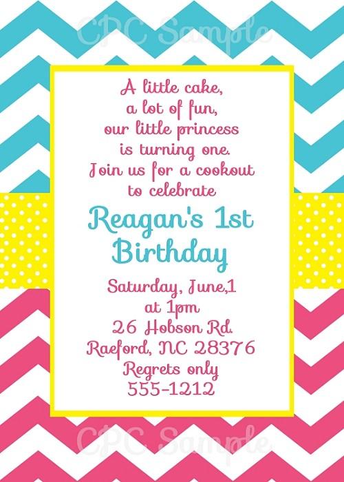 pink blue chevron invitations