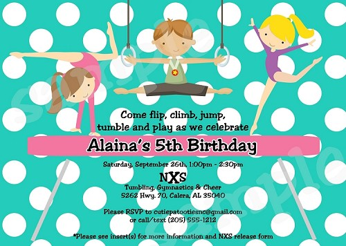 Gymnastics Party Invitation - Teal Polka Dots