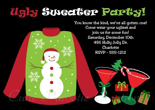 Ugly Sweater Holiday Party Invitation for Kids or Adults - Printable or Printed