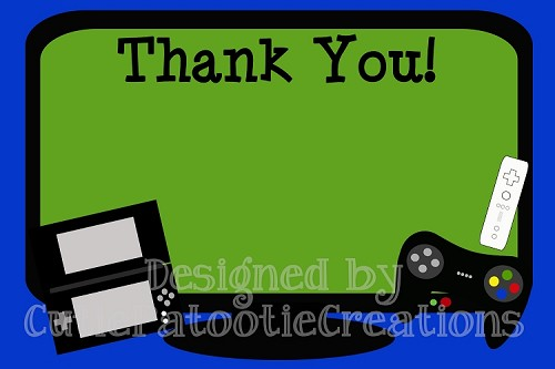 Video Games Thank You Cards