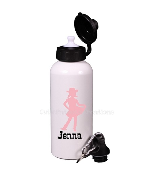Pink Vintage Cowgirl Aluminum Water Bottle, Personalized Sports Bottles
