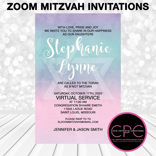 Pastel Watercolor with Jewish Star Zoom Bat Mitzvah Invitation