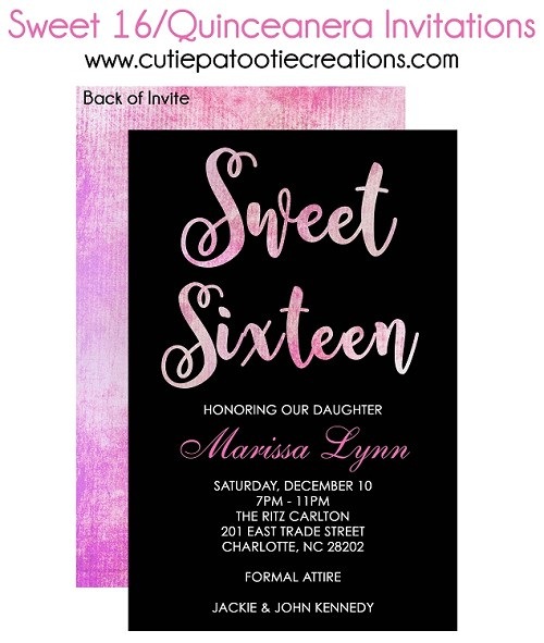 Pink Watercolor Sweet 16 Invitations, Quinceanera Invitations, 15th Birthday Party Invitation