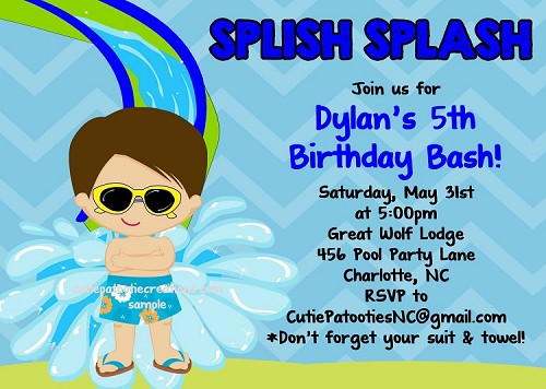Water Slide Pool Party Invitations - Printable or Printed
