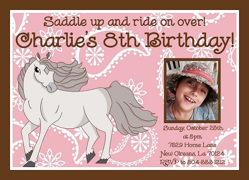 White Stallion Horse Birthday Invitations, Printable or Printed