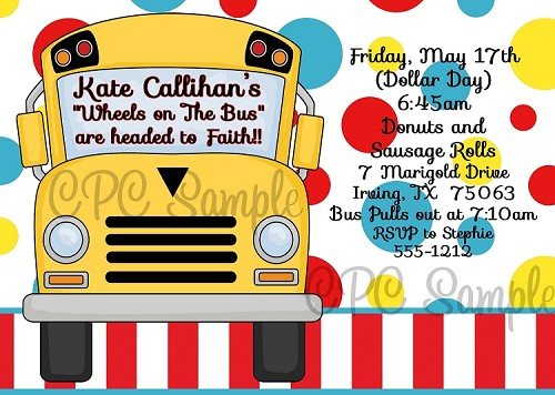 Wheels on the Bus Birthday Party Invitations - Printable or Printed