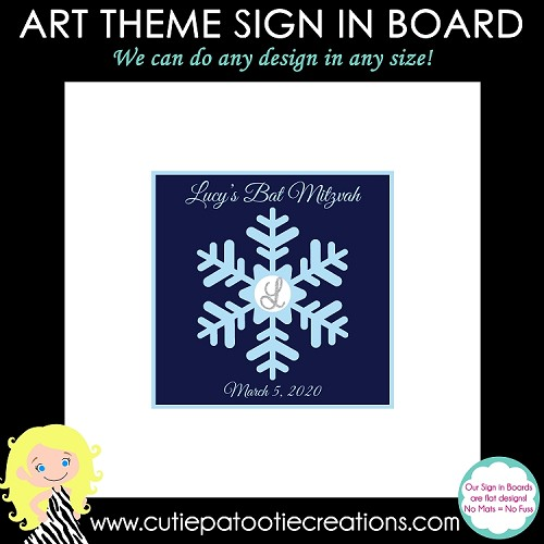 Winter Wonderland Bat Mitzvah Sign in Board or Sign in Pillow - Custom Colors Available