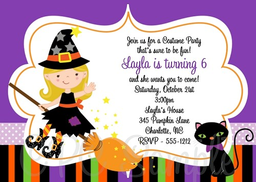 Witch Birthday Invitations | Halloween Party Invitations - Printable or Printed