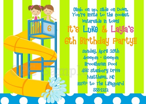 Boy Girl Pool Party Birthday Invitations