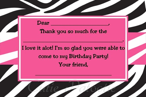 Zebra Print Thank You Cards - Printable Digital