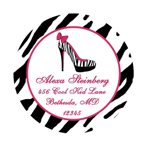 Personalized Camp Labels and Stickers - Zebra Glamour Girl