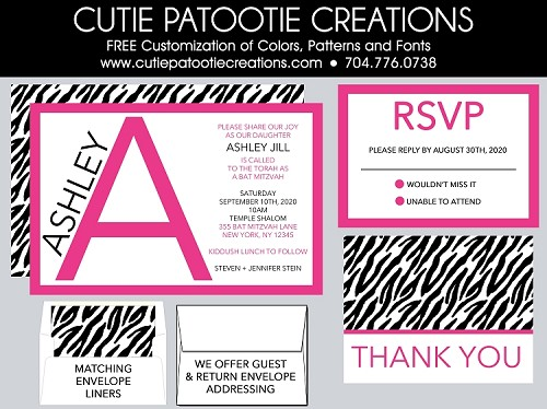 Pink Monogram Initial Bat Mitzvah Invitation with Zebra Print - Custom Colors Available