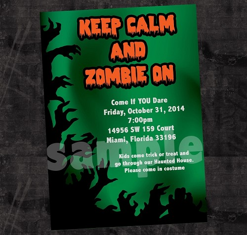 Zombie Halloween Invitations - Printable or Printed