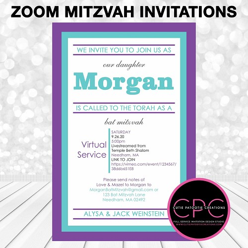 Zoom Bat Mitzvah Invitation - Purple and Aqua - Virtual Service Mitzvah Invitations