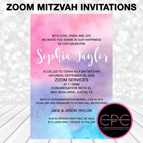 Zoom Bat Mitzvah Invitation, Watercolor Virtual Service Mitzvah Invitations