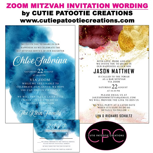 ZOOM Mitzvah Invitation Wording by Cutie Patootie Creations